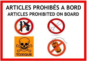 Articles prohibés à bord